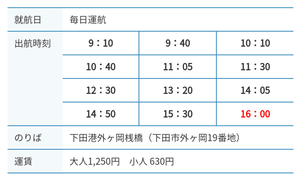 下田港 遊覧船 出発時間